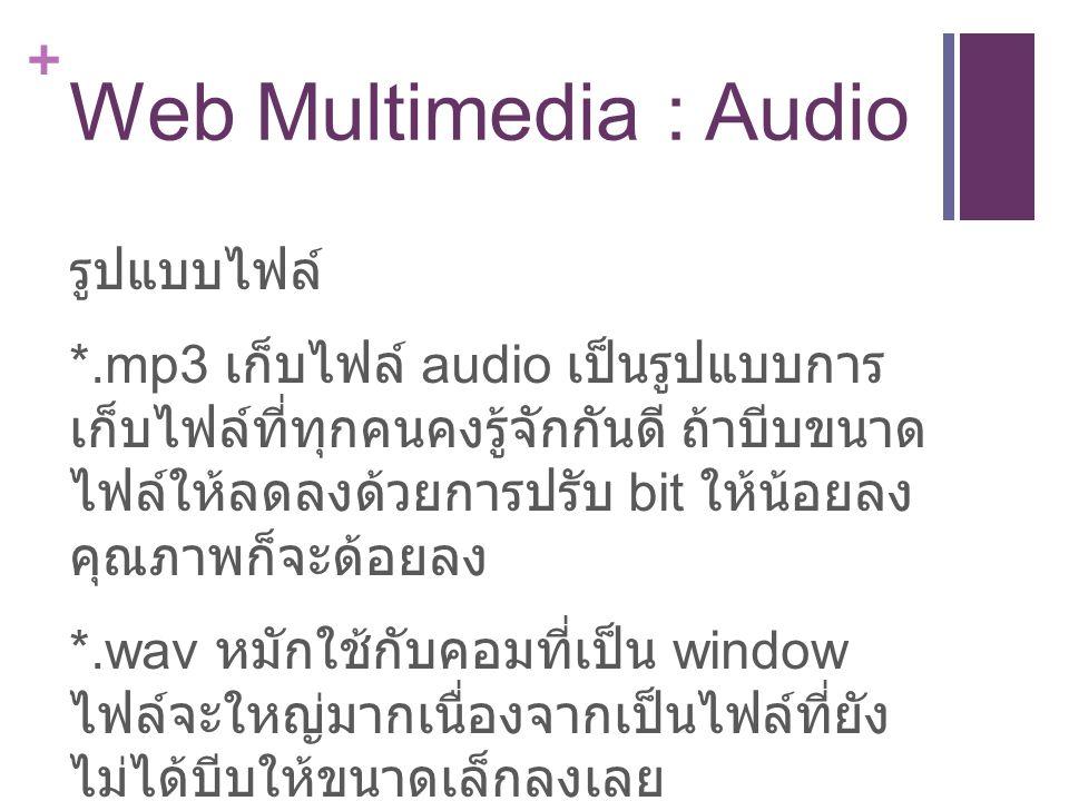 + Web Multimedia : Audio รูปแบบไฟล์ *.mp3 เก็บไฟล์ audio เป็นรูปแบบการ เก็บไฟล์ที่ทุกคนคงรู้จักกันดี ถ้าบีบขนาด ไฟล์ให้ลดลงด้วยการปรับ bit ให้น้อยลง คุณภาพก็จะด้อยลง *.wav หมักใช้กับคอมที่เป็น window ไฟล์จะใหญ่มากเนื่องจากเป็นไฟล์ที่ยัง ไม่ได้บีบให้ขนาดเล็กลงเลย