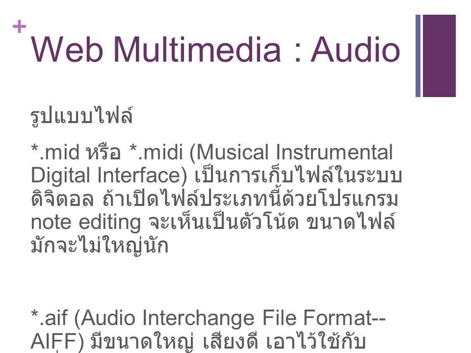 + Web Multimedia : Audio รูปแบบไฟล์ *.mid หรือ *.midi (Musical Instrumental Digital Interface) เป็นการเก็บไฟล์ในระบบ ดิจิตอล ถ้าเปิดไฟล์ประเภทนี้ด้วยโปรแกรม note editing จะเห็นเป็นตัวโน้ต ขนาดไฟล์ มักจะไม่ใหญ่นัก *.aif (Audio Interchange File Format-- AIFF) มีขนาดใหญ่ เสียงดี เอาไว้ใช้กับ เครื่อง MacIntosh