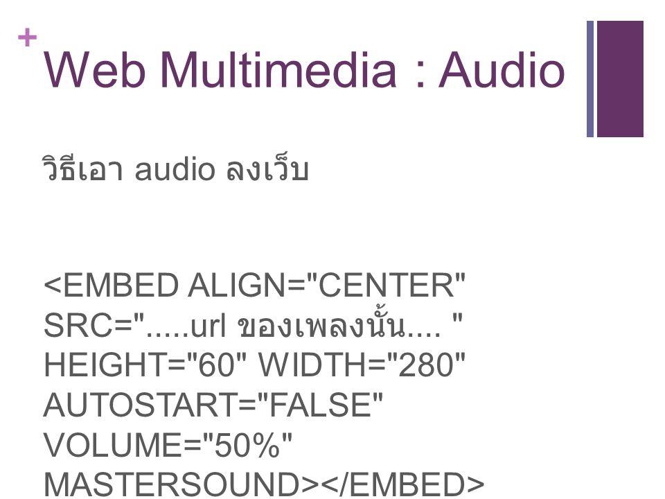 + Web Multimedia : Audio วิธีเอา audio ลงเว็บ