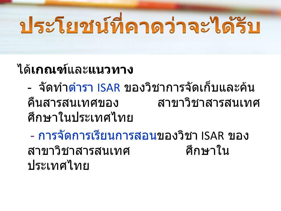 เป็นการวิเคราะห์เปรียบเทียบสถานภาพและ บริบทของเนื้อหาในตำรา ISAR ที่เป็นเอกสาร ภาษาอังกฤษและภาษาไทยทั้งที่อยู่ในรูปเล่ม หนังสือ และ e-Book ใช้แบบสอบถา