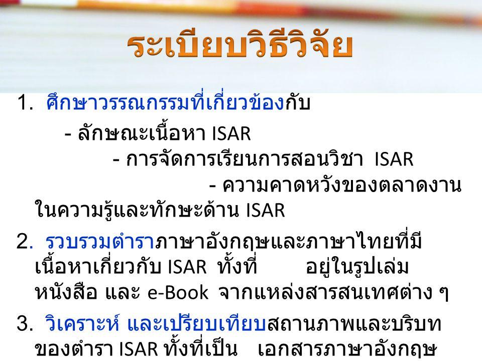 ได้เกณฑ์และแนวทาง - จัดทำตำรา ISAR ของวิชาการจัดเก็บและค้น คืนสารสนเทศของสาขาวิชาสารสนเทศ ศึกษาในประเทศไทย - การจัดการเรียนการสอนของวิชา ISAR ของ สาขาวิชาสารสนเทศศึกษาใน ประเทศไทย