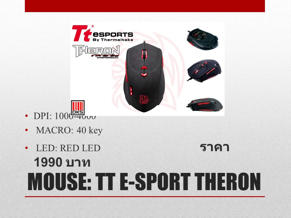 MOUSE: TT E-SPORT THERON DPI: 1000-4000 MACRO: 40 key LED: RED LED ราคา 1990 บาท
