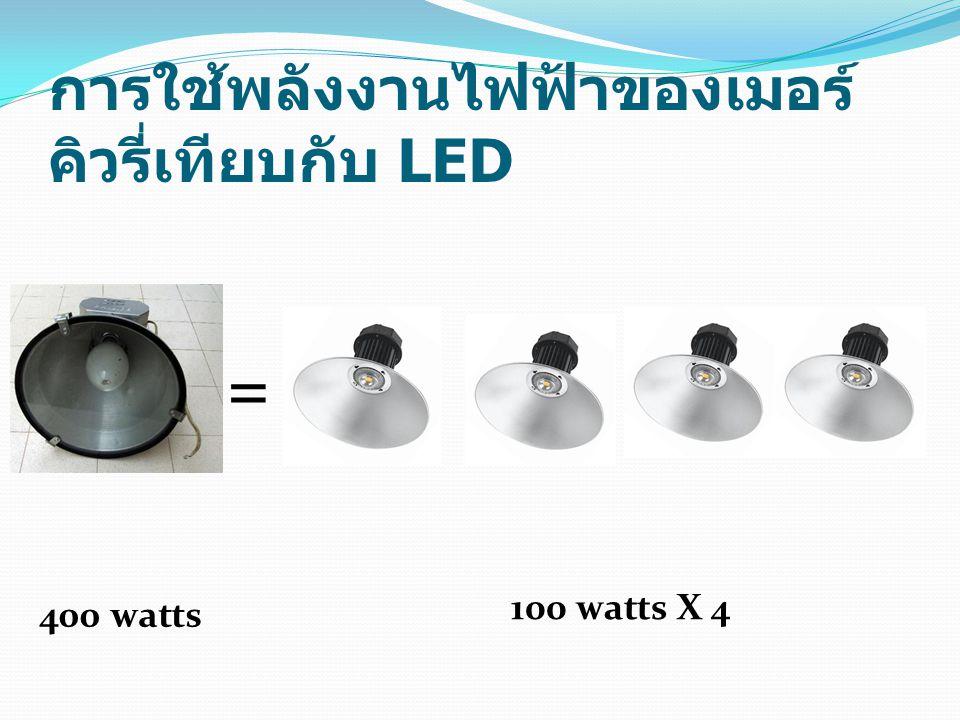 การใช้พลังงานไฟฟ้าของเมอร์ คิวรี่เทียบกับ LED = 400 watts 100 watts X 4