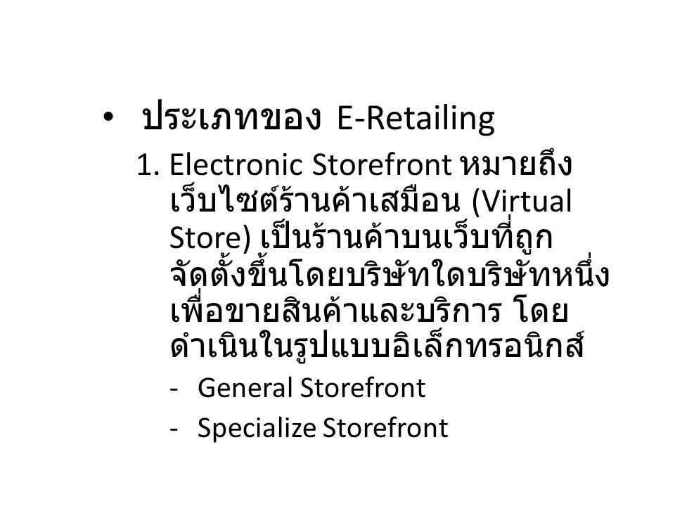 2.2 แนะนำการค้าปลีก อิเล็กทรอนิกส์ ประเภทของ E-Retailing 1. Electronic Storefront หมายถึง เว็บไซต์ร้านค้าเสมือน (Virtual Store) เป็นร้านค้าบนเว็บที่ถู