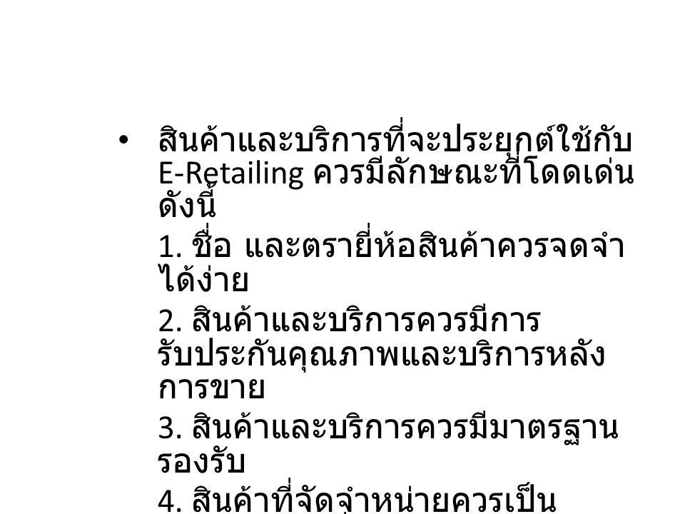 2.2 แนะนำการค้าปลีก อิเล็กทรอนิกส์ สินค้าและบริการที่จะประยุกต์ใช้กับ E-Retailing ควรมีลักษณะที่โดดเด่น ดังนี้ 1. ชื่อ และตรายี่ห้อสินค้าควรจดจำ ได้ง่