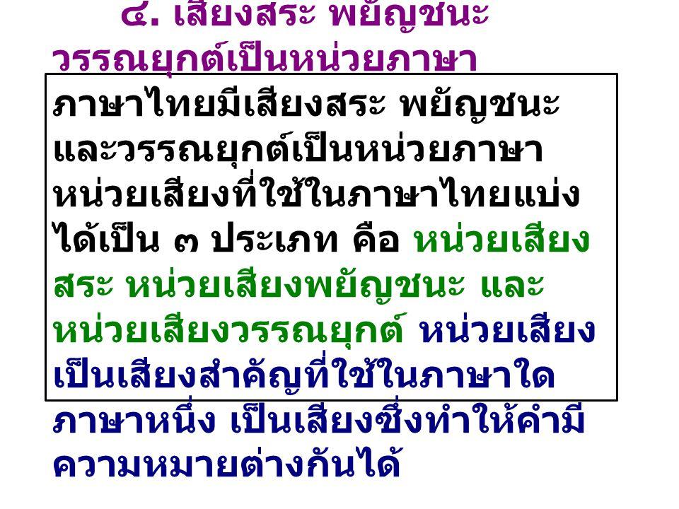 ๔. เสียงสระ พยัญชนะ วรรณยุกต์เป็นหน่วยภาษา ภาษาไทยมีเสียงสระ พยัญชนะ และวรรณยุกต์เป็นหน่วยภาษา หน่วยเสียงที่ใช้ในภาษาไทยแบ่ง ได้เป็น ๓ ประเภท คือ หน่ว