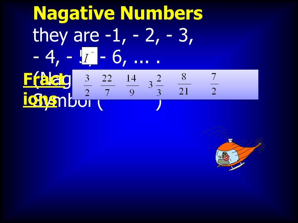 Nagative Numbers they are -1, - 2, - 3, - 4, - 5, - 6,.... (Nagative numbers ) Symbol ( ) Fract ions
