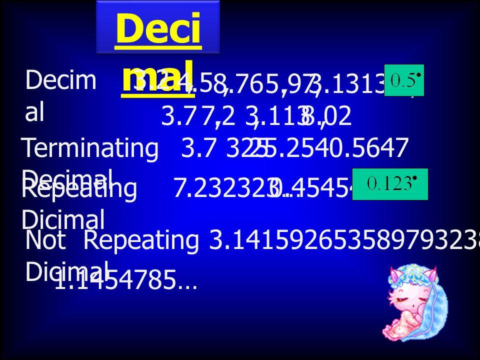 Deci mal 3.2, 4.5, 8.76,5.97,3.1313…, 3.7,7.2,8.023.113, Repeating Dicimal Not Repeating Dicimal 7.232323…0.454545… 3.1415926535897932384… 1.1454785…