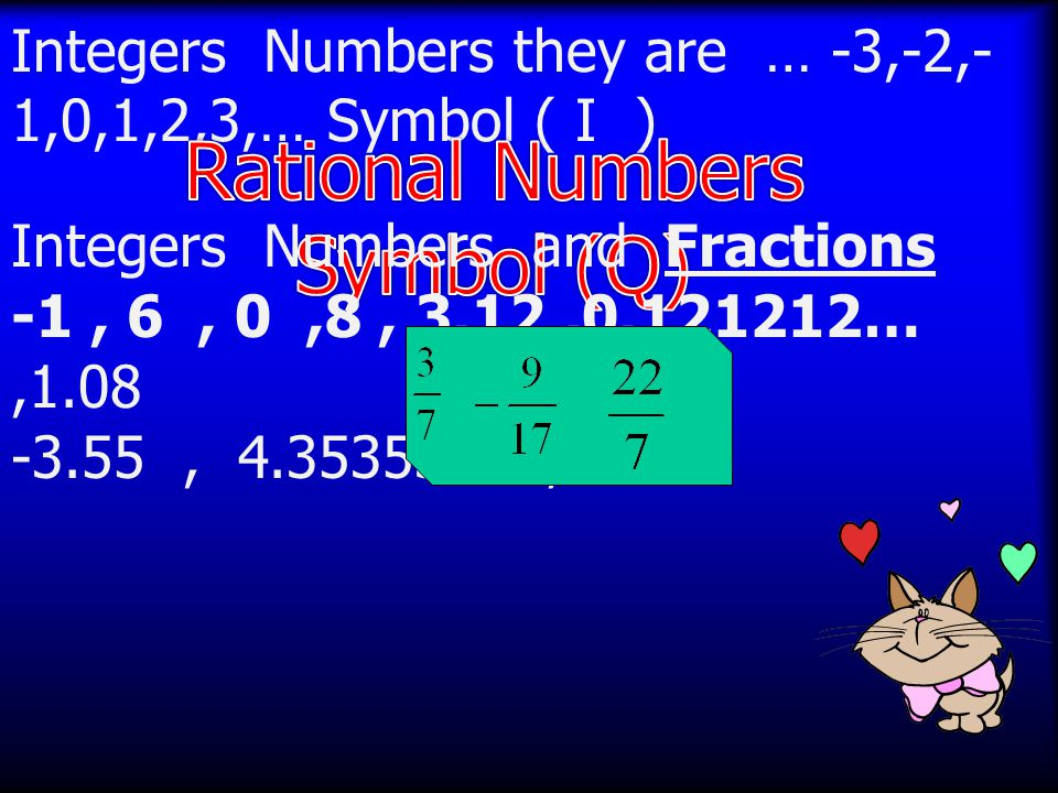 Integers Numbers they are … -3,-2,- 1,0,1,2,3,… Symbol ( I ) Integers Numbers and Fractions -1, 6, 0,8, 3.12,0.121212…,1.08 -3.55, 4.353535…,5.9