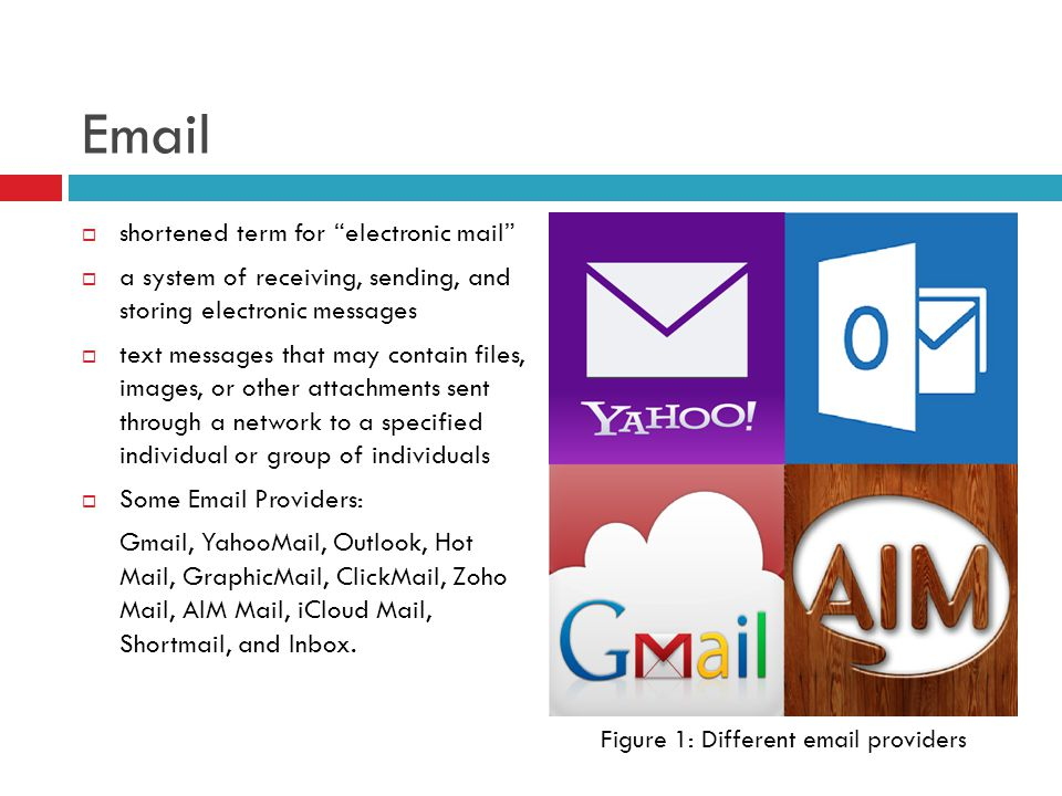 Email  the first portion all e-mail addresses is the alias, user, group, or department of a company  next, the @ (at sign) is used as a divider in the e-mail address and is always required for all SMTP email addresses  Simple Mail Transfer Protocol (SMTP) - communications protocol that sends e-mail messages from one server to another over port 25.