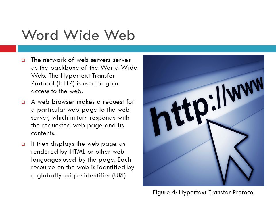 Word Wide Web  The network of web servers serves as the backbone of the World Wide Web.