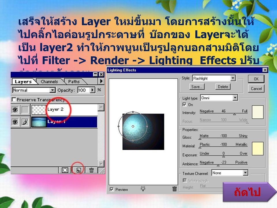 เสร็จให้สร้าง Layer ใหม่ขึ้นมา โดยการสร้างนั้นให้ ไปคลิ๊กไอค่อนรูปกระดาษที่ บ๊อกของ Layer จะได้ เป็น layer2 ทำให้ภาพนูนเป็นรูปลูกบอกสามมิติโดย ไปที่ Filter -> Render -> Lighting Effects ปรับ ค่าต่างๆดังภาพ ถัดไป