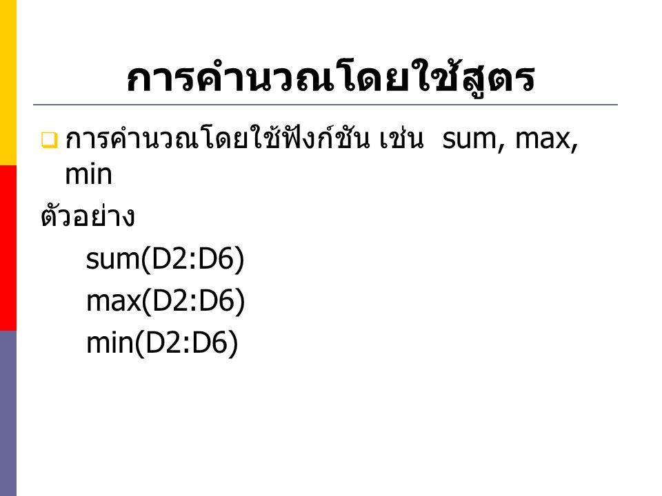 การคำนวณโดยใช้สูตร  การคำนวณโดยใช้ฟังก์ชัน เช่น sum, max, min ตัวอย่าง sum(D2:D6) max(D2:D6) min(D2:D6)
