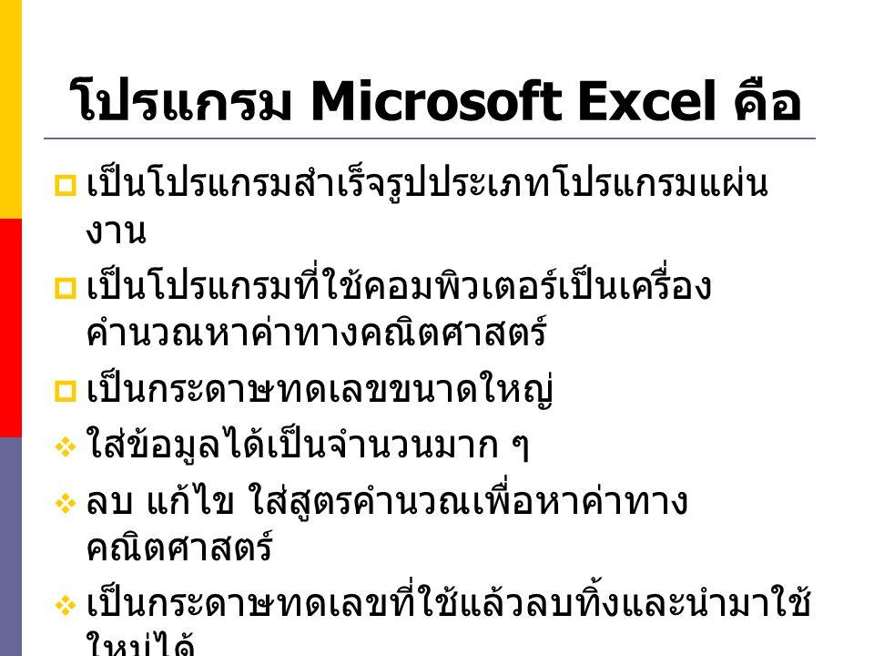 โปรแกรม Microsoft Excel คือ  เป็นโปรแกรมสำเร็จรูปประเภทโปรแกรมแผ่น งาน  เป็นโปรแกรมที่ใช้คอมพิวเตอร์เป็นเครื่อง คำนวณหาค่าทางคณิตศาสตร์  เป็นกระดาษ