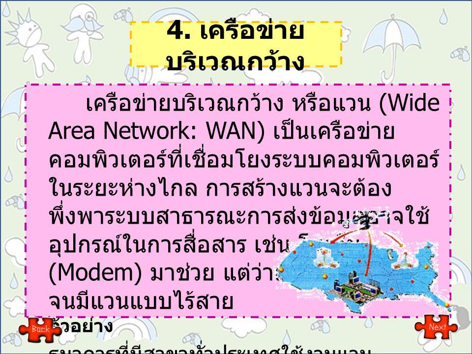 4. เครือข่าย บริเวณกว้าง เครือข่ายบริเวณกว้าง หรือแวน (Wide Area Network: WAN) เป็นเครือข่าย คอมพิวเตอร์ที่เชื่อมโยงระบบคอมพิวเตอร์ ในระยะห่างไกล การส