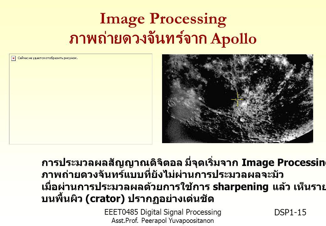 EEET0485 Digital Signal Processing Asst.Prof. Peerapol Yuvapoositanon DSP1-15 Image Processing ภาพถ่ายดวงจันทร์จาก Apollo การประมวลผลสัญญาณดิจิตอล มี่