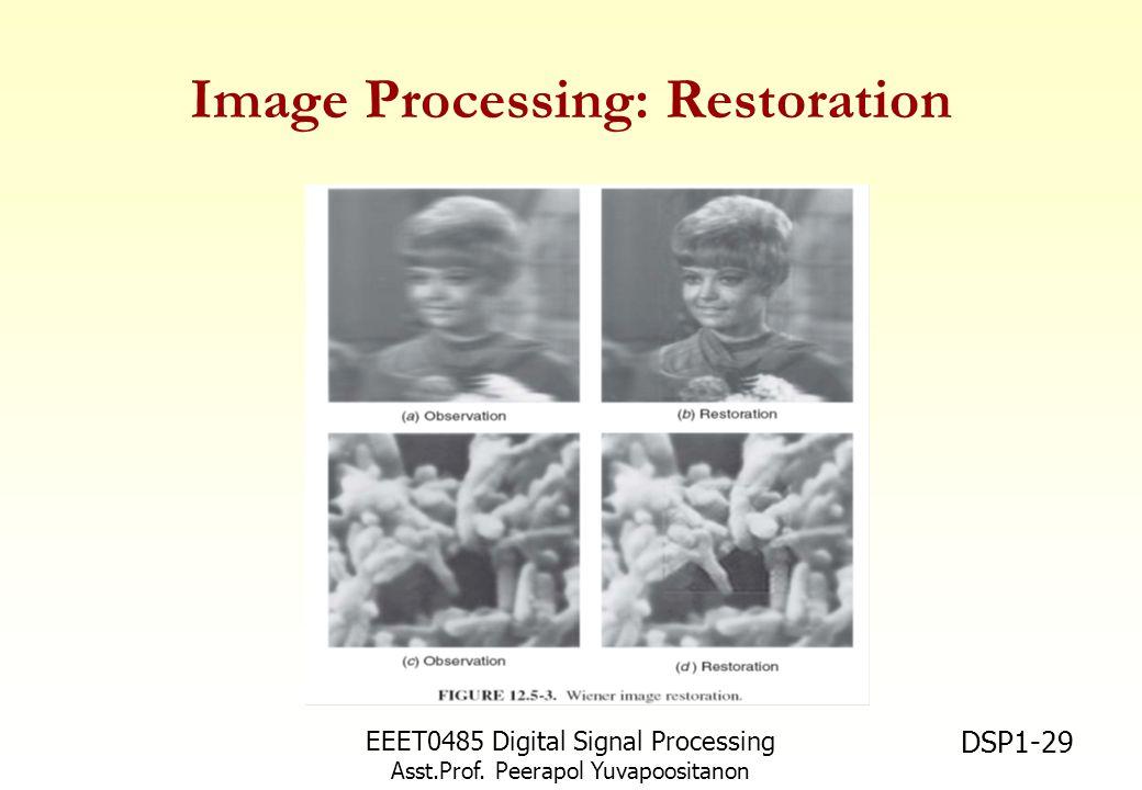 EEET0485 Digital Signal Processing Asst.Prof. Peerapol Yuvapoositanon DSP1-29 Image Processing: Restoration