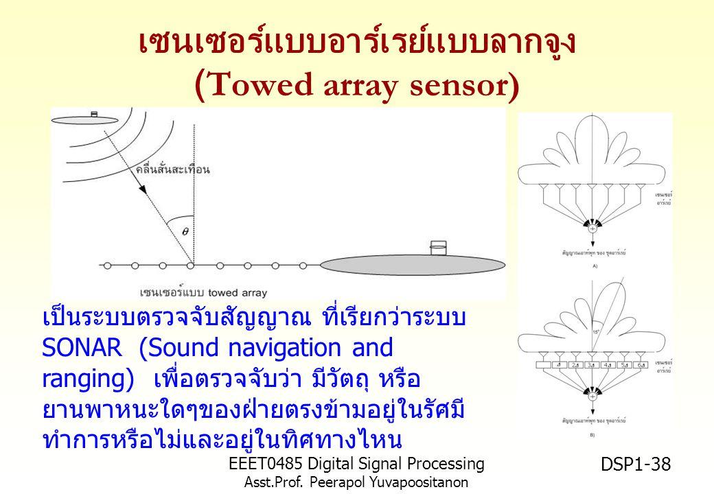 EEET0485 Digital Signal Processing Asst.Prof. Peerapol Yuvapoositanon DSP1-38 เซนเซอร์แบบอาร์เรย์แบบลากจูง (Towed array sensor) เป็นระบบตรวจจับสัญญาณ