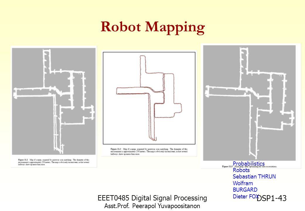 EEET0485 Digital Signal Processing Asst.Prof. Peerapol Yuvapoositanon DSP1-43 Robot Mapping Probabilistics Robots Sebastian THRUN Wolfram BURGARD Diet