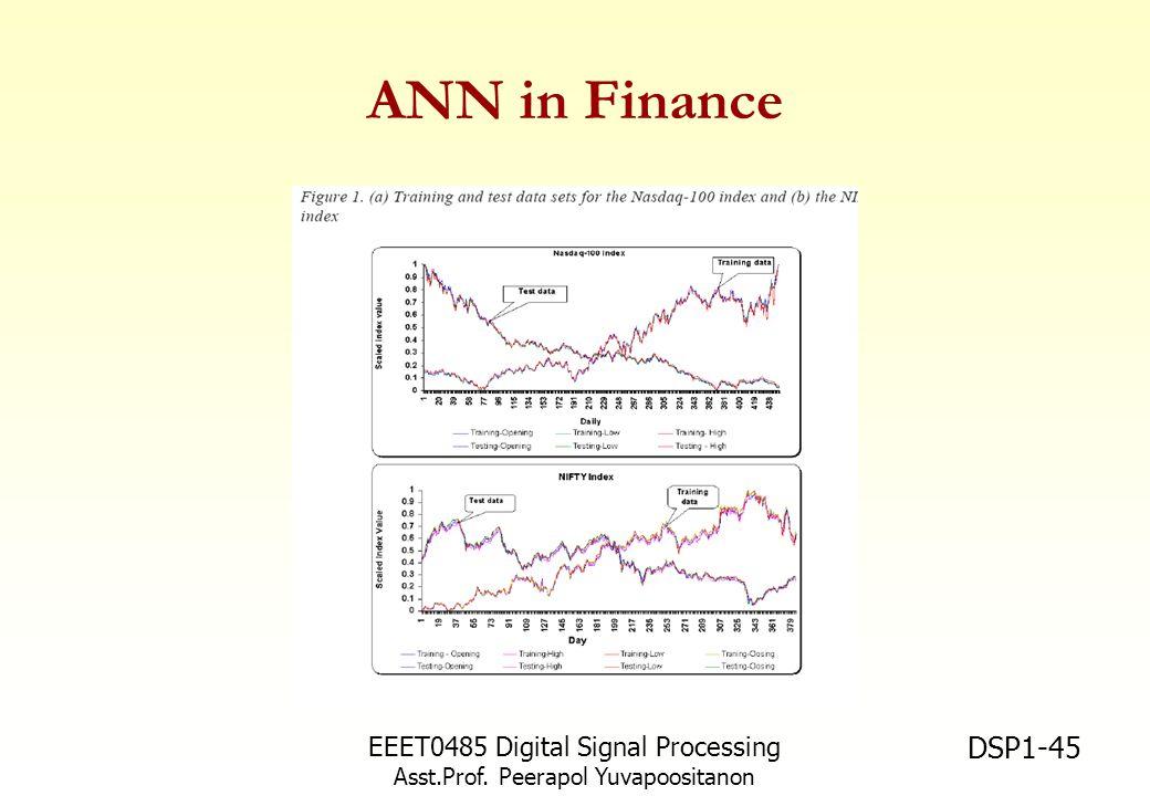 EEET0485 Digital Signal Processing Asst.Prof. Peerapol Yuvapoositanon DSP1-45 ANN in Finance