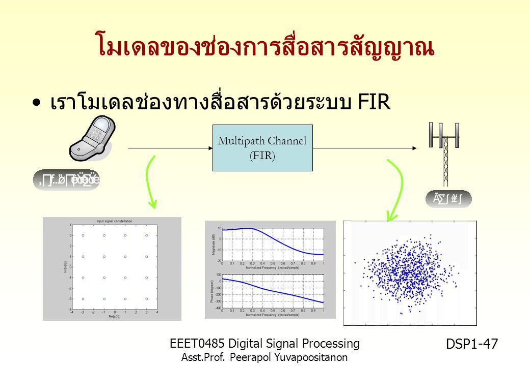 EEET0485 Digital Signal Processing Asst.Prof. Peerapol Yuvapoositanon DSP1-47 โมเดลของช่องการสื่อสารสัญญาณ เราโมเดลช่องทางสื่อสารด้วยระบบ FIR Multipat