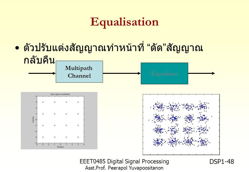 "EEET0485 Digital Signal Processing Asst.Prof. Peerapol Yuvapoositanon DSP1-48 Equalisation ตัวปรับแต่งสัญญาณทำหน้าที่ "" ดัด "" สัญญาณ กลับคืน Multipath"