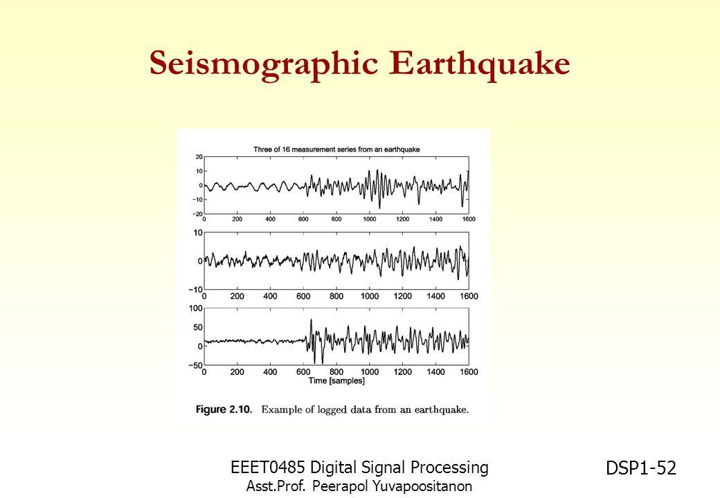 EEET0485 Digital Signal Processing Asst.Prof. Peerapol Yuvapoositanon DSP1-52 Seismographic Earthquake