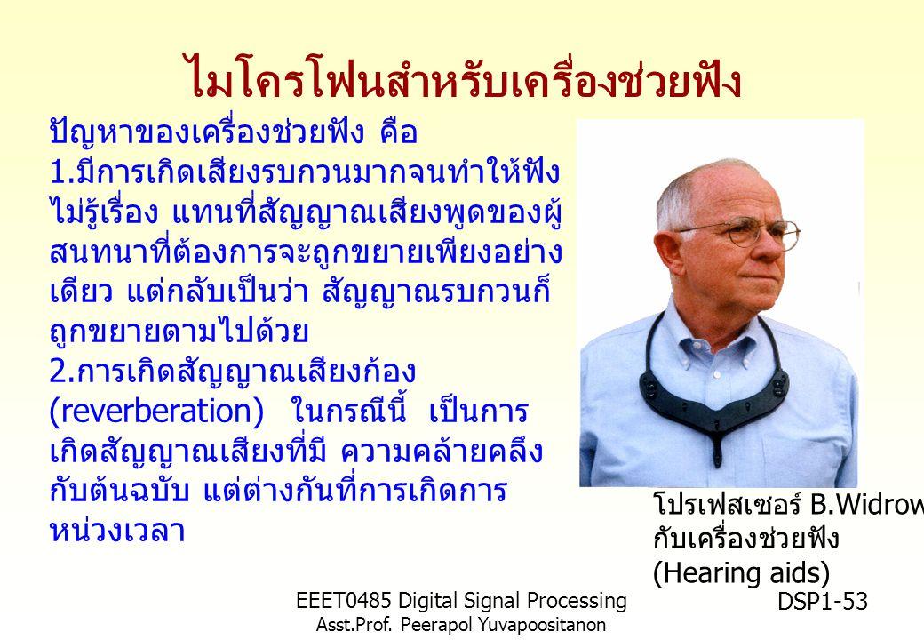 EEET0485 Digital Signal Processing Asst.Prof. Peerapol Yuvapoositanon DSP1-53 ไมโครโฟนสำหรับเครื่องช่วยฟัง โปรเฟสเซอร์ B.Widrow กับเครื่องช่วยฟัง (Hea