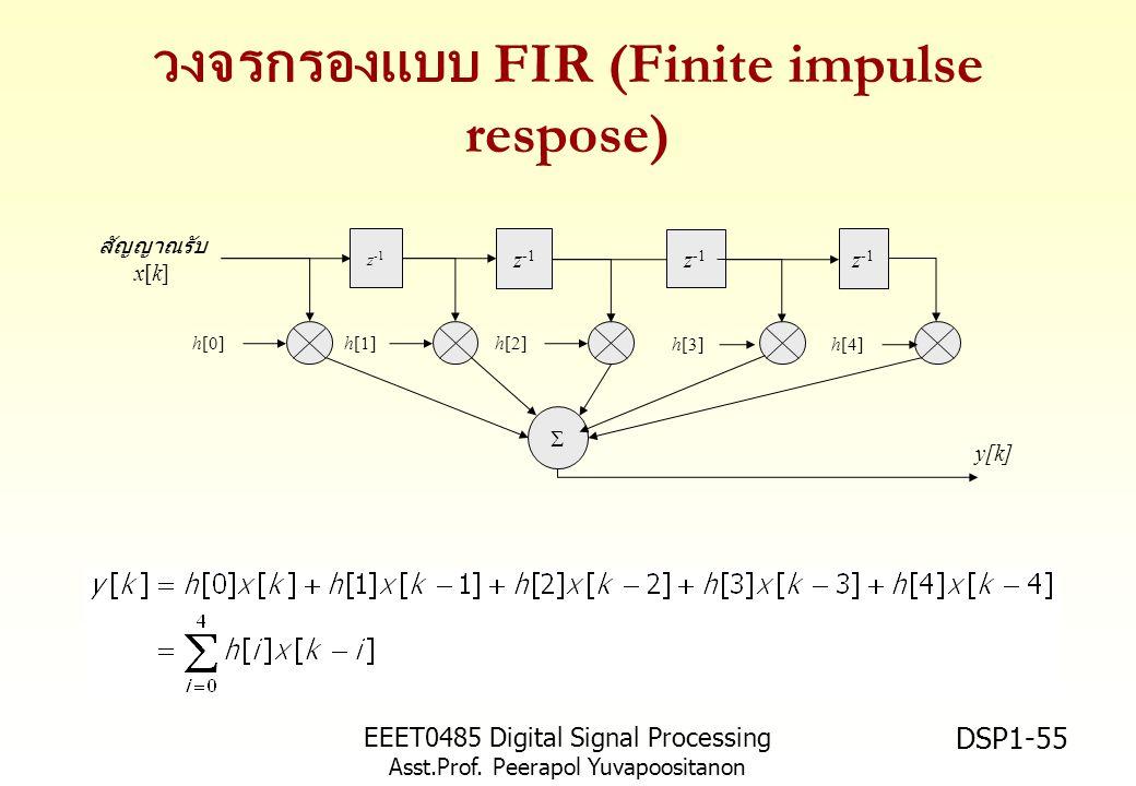EEET0485 Digital Signal Processing Asst.Prof. Peerapol Yuvapoositanon DSP1-55 วงจรกรองแบบ FIR (Finite impulse respose) z -1 สัญญาณรับ x[k]  y[k] h[0]
