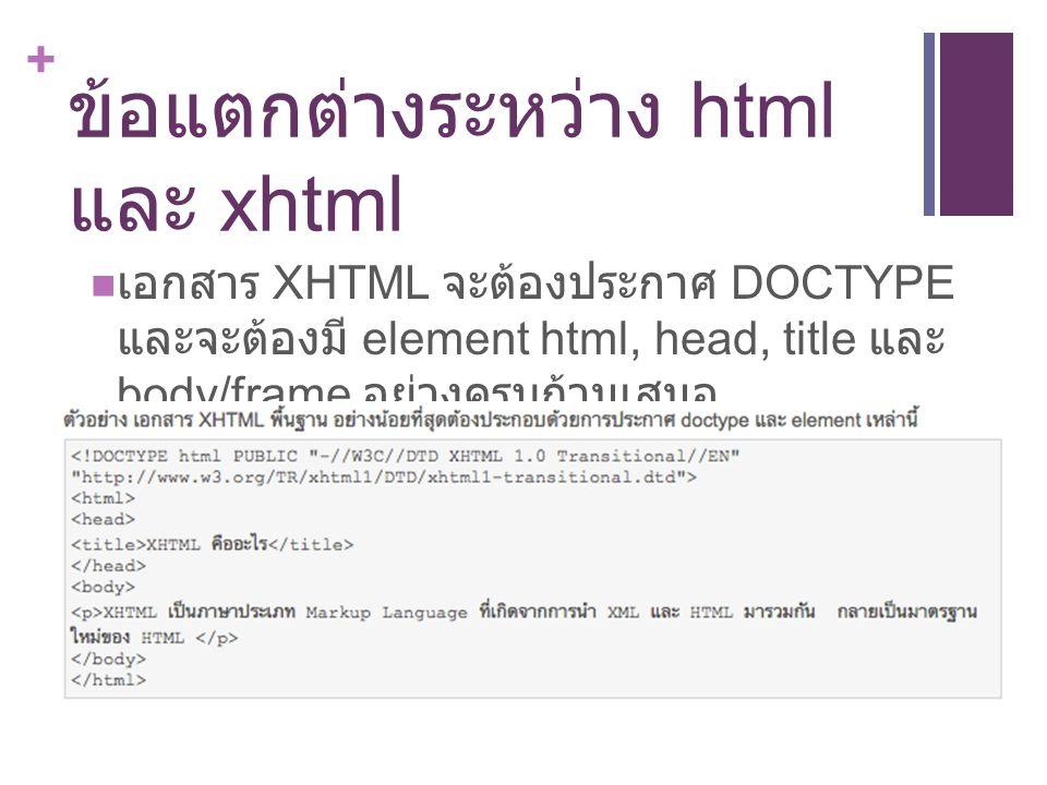 + ข้อแตกต่างระหว่าง html และ xhtml เอกสาร XHTML จะต้องประกาศ DOCTYPE และจะต้องมี element html, head, title และ body/frame อย่างครบถ้วนเสมอ