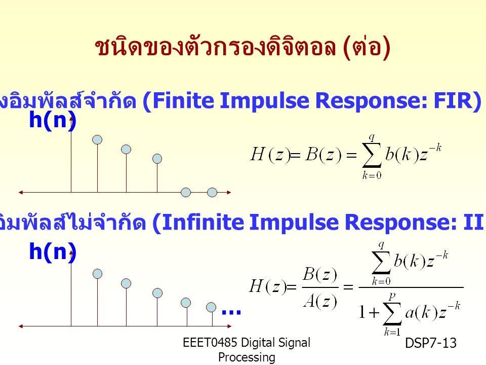 EEET0485 Digital Signal Processing Asst.Prof. Peerapol Yuvapoositanon DSP7-13 ชนิดของตัวกรองดิจิตอล ( ต่อ ) ตัวกรองอิมพัลส์จำกัด (Finite Impulse Respo