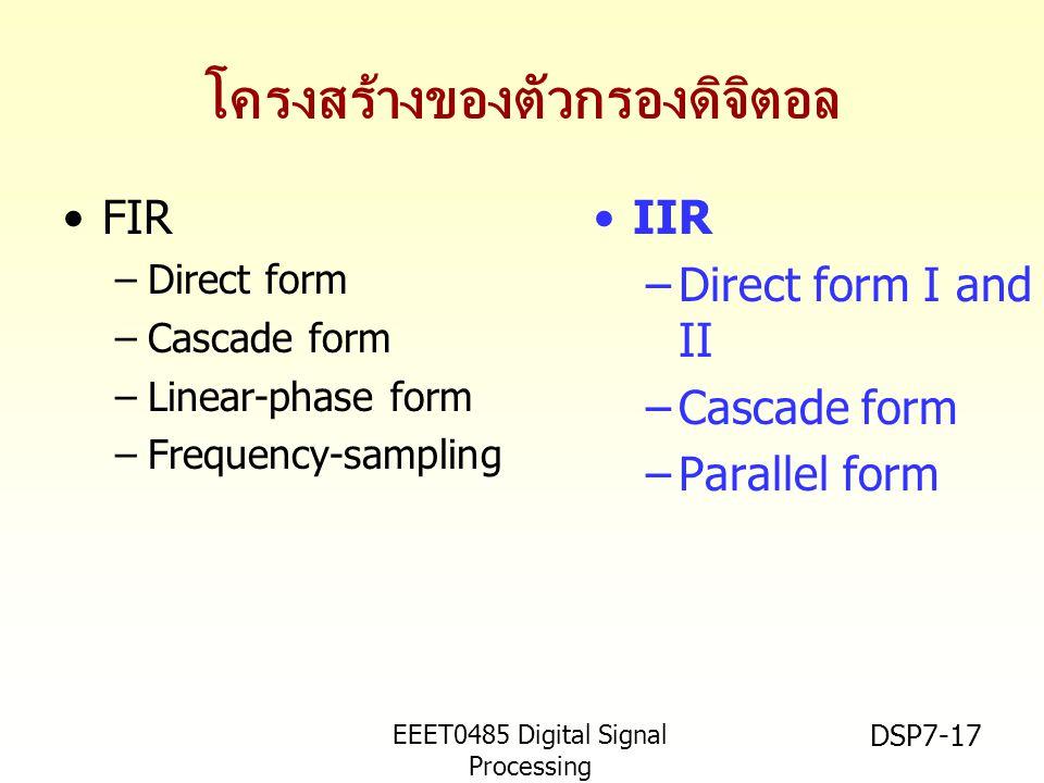 EEET0485 Digital Signal Processing Asst.Prof. Peerapol Yuvapoositanon DSP7-17 โครงสร้างของตัวกรองดิจิตอล FIR –Direct form –Cascade form –Linear-phase