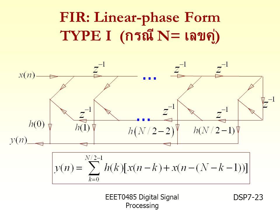 EEET0485 Digital Signal Processing Asst.Prof. Peerapol Yuvapoositanon DSP7-23 FIR: Linear-phase Form TYPE I ( กรณี N= เลขคู่ )...