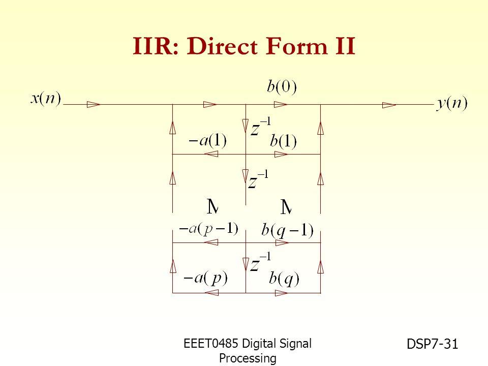 EEET0485 Digital Signal Processing Asst.Prof. Peerapol Yuvapoositanon DSP7-31 IIR: Direct Form II