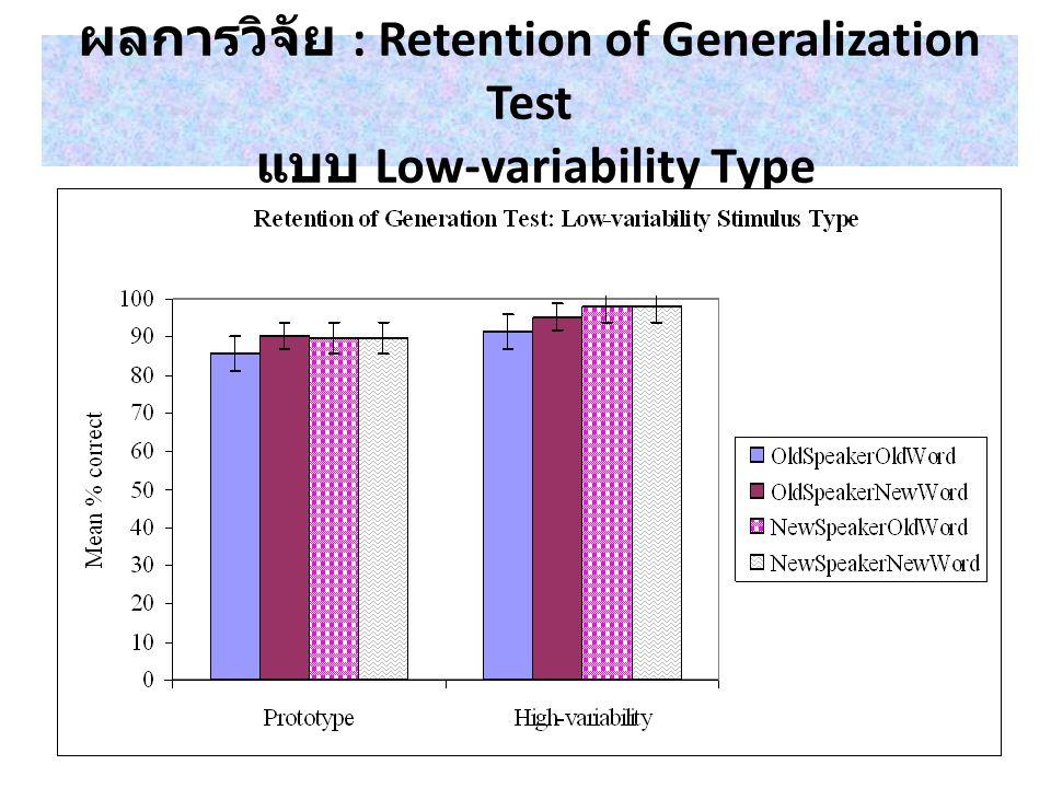 ผลการวิจัย : Generalization Test แบบ High-variability Type