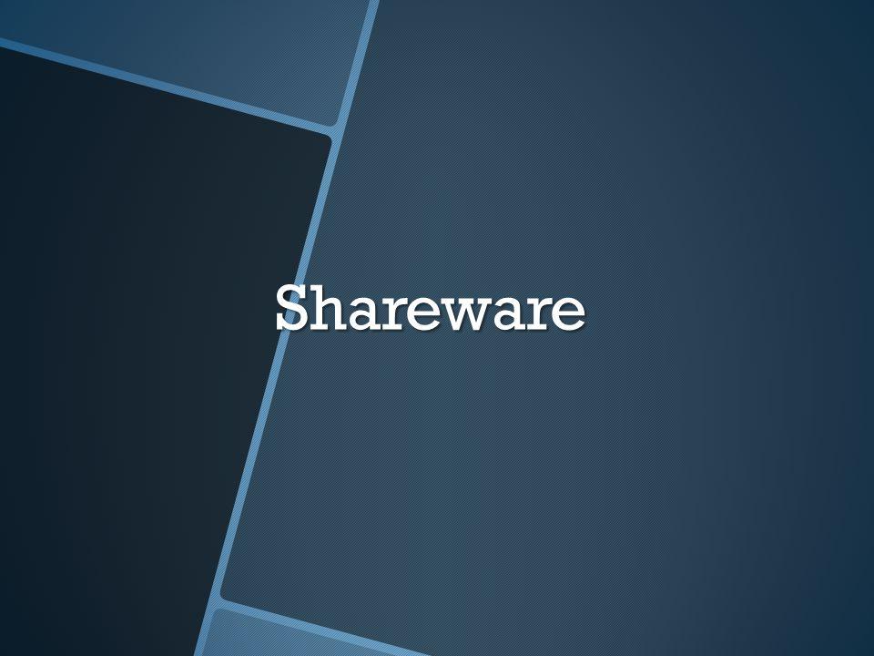 Shareware คืออะไร Shareware คือ โปรแกรมประเภทให้ทดลองใช้ ซึ่งจะถูกจำกัด ความสามารถบางอย่างไว้ เพื่อให้ผู้บริโภคได้ทดลองใช้โปรแกรม โดยหากสนใจใช้โปรแกรมอย่างครบทุกความสามารถ ก็ต้องจ่ายเงิน เพื่อซื้อโปรแกรมเวอร์ชั่นสมบูรณ์จากบริษัทผู้พัฒนา ข้อดีของ โปรแกรมประเภท Shareware คือ ผู้ใช้ไม่จำเป็นต้องเสียเงินก็ สามารถใช้โปรแกรมได้ เมื่อพอใจจึงตัดสินใจซื้อ ส่วนด้านเจ้าของ โปรแกรมก็ถือเป็นการแนะนำสินค้าที่ดีวิธีหนึ่ง Shareware คือ โปรแกรมประเภทให้ทดลองใช้ ซึ่งจะถูกจำกัด ความสามารถบางอย่างไว้ เพื่อให้ผู้บริโภคได้ทดลองใช้โปรแกรม โดยหากสนใจใช้โปรแกรมอย่างครบทุกความสามารถ ก็ต้องจ่ายเงิน เพื่อซื้อโปรแกรมเวอร์ชั่นสมบูรณ์จากบริษัทผู้พัฒนา ข้อดีของ โปรแกรมประเภท Shareware คือ ผู้ใช้ไม่จำเป็นต้องเสียเงินก็ สามารถใช้โปรแกรมได้ เมื่อพอใจจึงตัดสินใจซื้อ ส่วนด้านเจ้าของ โปรแกรมก็ถือเป็นการแนะนำสินค้าที่ดีวิธีหนึ่ง ลักษณะของโปรแกรมประเภท Shareware คือ ลักษณะของโปรแกรมประเภท Shareware คือ 1.
