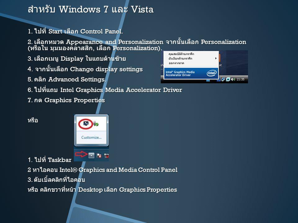 สำหรับ Windows 7 และ Vista 1. ไปที่ Start เลือก Control Panel. 2. เลือกหมวด Appearance and Personalization จากนั้นเลือก Personalization ( หรือใน มุมมอ