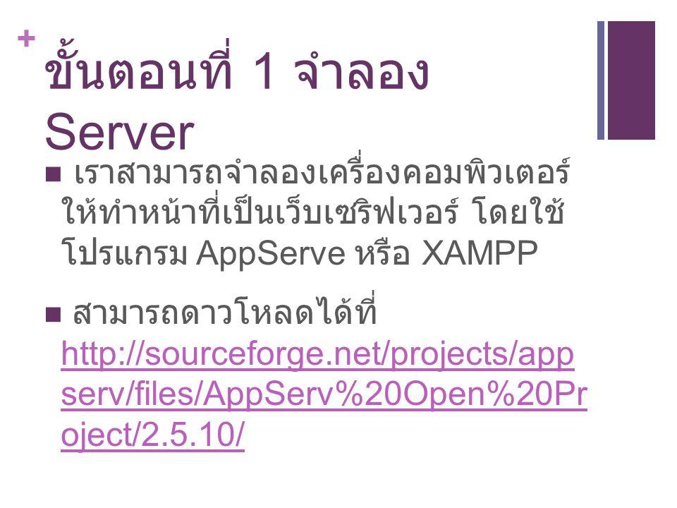 + ขั้นตอนที่ 1 จำลอง Server เราสามารถจำลองเครื่องคอมพิวเตอร์ ให้ทำหน้าที่เป็นเว็บเซริฟเวอร์ โดยใช้ โปรแกรม AppServe หรือ XAMPP สามารถดาวโหลดได้ที่ http://sourceforge.net/projects/app serv/files/AppServ%20Open%20Pr oject/2.5.10/ http://sourceforge.net/projects/app serv/files/AppServ%20Open%20Pr oject/2.5.10/