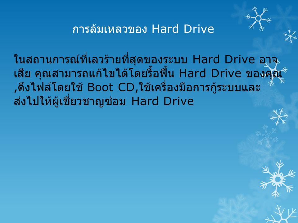 การล้มเหลวของ Hard Drive ในสถานการณ์ที่เลวร้ายที่สุดของระบบ Hard Drive อาจ เสีย คุณสามารถแก้ไขได้โดยรื้อฟื้น Hard Drive ของคุณ, ดึงไฟล์โดยใช้ Boot CD, ใช้เครื่องมือการกู้ระบบและ ส่งไปให้ผู้เชี่ยวชาญซ่อม Hard Drive