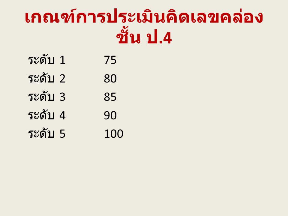 เกณฑ์การประเมินคิดเลขคล่อง ชั้น ป.4 ระดับ 175 ระดับ 280 ระดับ 385 ระดับ 490 ระดับ 5100