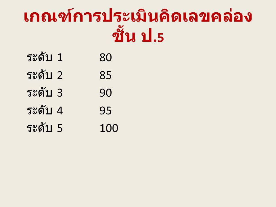 เกณฑ์การประเมินคิดเลขคล่อง ชั้น ป. 5 ระดับ 180 ระดับ 285 ระดับ 390 ระดับ 495 ระดับ 5100