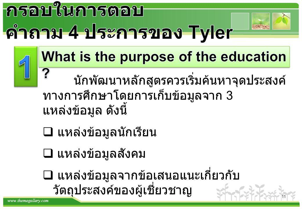 www.themegallery.com 12 Tyler ได้เสนอเกณฑ์ในการพิจารณาเลือกประสบการณ์ การเรียนรู้ไว้ ดังนี้ 1) ผู้เรียนควรมีโอกาสฝึกพฤติกรรมและเรียนรู้เนื้อหา ตามที่ระบุไว้ในจุดประสงค์ 2) กิจกรรมและประสบการณ์การเรียนรู้นั้น ควรทำให้ ผู้เรียนพอใจที่จะปฏิบัติตาม พฤติกรรมที่ระบุไว้ในจุดประสงค์ 3) กิจกรรมและประสบการณ์นั้นควรอยู่ในข่ายที่นักเรียน สามารถปฏิบัติได้ 4) กิจกรรมและประสบการณ์หลายๆด้าน ของผู้เรียนอาจ นำไปสู่จุดประสงค์ที่กำหนดไว้ เพียงข้อเดียวก็ได้ 5) กิจกรรมและประสบการณ์การเรียนรู้เพียงหนึ่งอย่าง อาจตอบสนองจุดประสงค์ หลายๆข้อได้