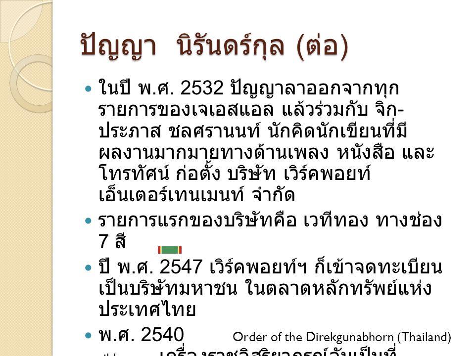 ปัญญา นิรันดร์กุล ( ต่อ ) ในปี พ. ศ. 2532 ปัญญาลาออกจากทุก รายการของเจเอสแอล แล้วร่วมกับ จิก - ประภาส ชลศรานนท์ นักคิดนักเขียนที่มี ผลงานมากมายทางด้าน