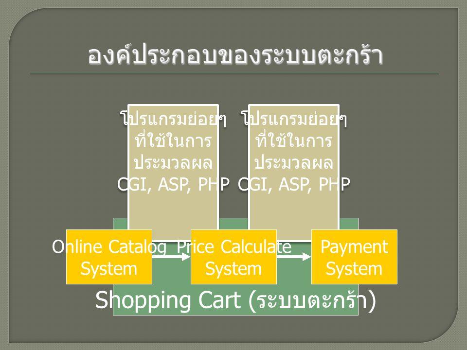 Shopping Cart ( ระบบตะกร้า ) โปรแกรมย่อยๆ ที่ใช้ในการ ประมวลผล CGI, ASP, PHP โปรแกรมย่อยๆ ที่ใช้ในการ ประมวลผล CGI, ASP, PHP โปรแกรมย่อยๆ ที่ใช้ในการ ประมวลผล CGI, ASP, PHP โปรแกรมย่อยๆ ที่ใช้ในการ ประมวลผล CGI, ASP, PHP Online Catalog System Price Calculate System Payment System