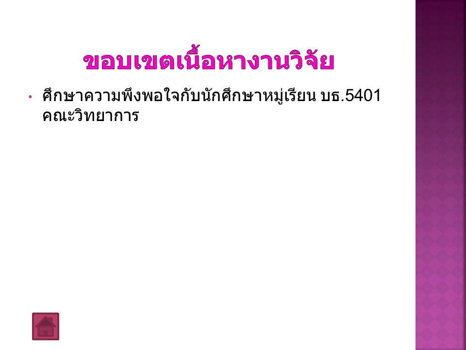 ศึกษาความพึงพอใจกับนักศึกษาหมู่เรียน บธ.5401 คณะวิทยาการ