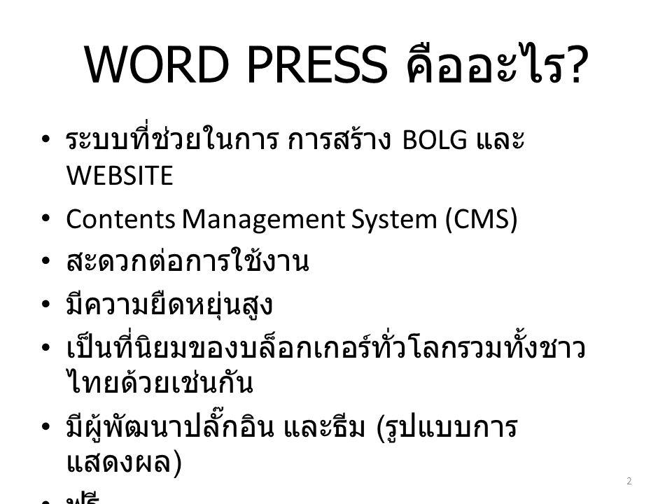 WORD PRESS คืออะไร .