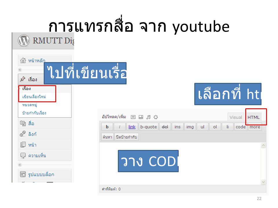 การแทรกสื่อ จาก youtube เลือกที่ html วาง CODE ไปที่เขียนเรื่องใหม่ 22