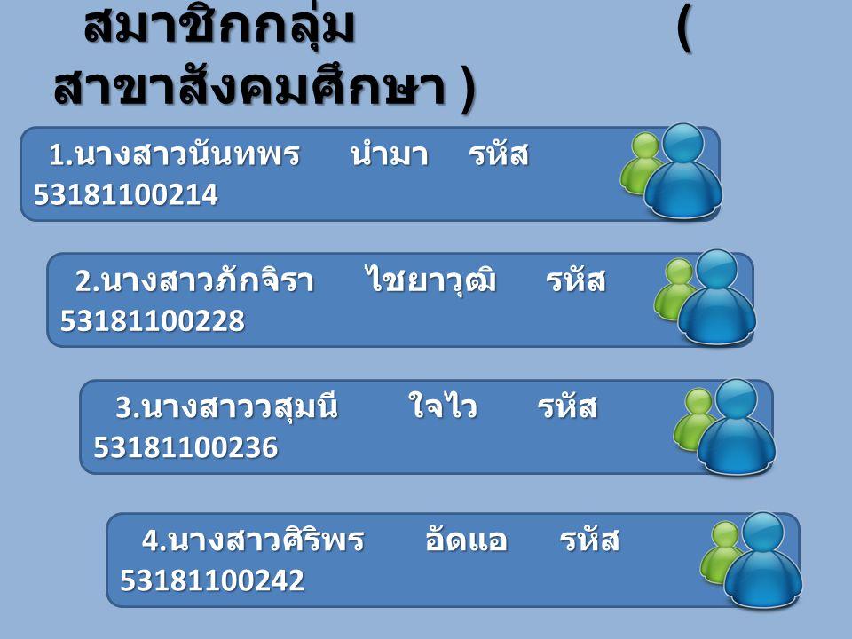 สมาชิกกลุ่ม ( สาขาสังคมศึกษา ) สมาชิกกลุ่ม ( สาขาสังคมศึกษา ) 1. นางสาวนันทพร นำมา รหัส 53181100214 1. นางสาวนันทพร นำมา รหัส 53181100214 2. นางสาวภัก