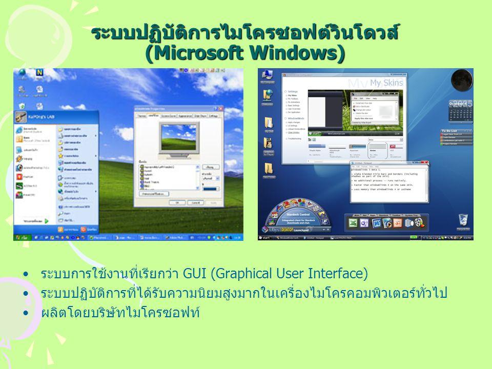 ระบบปฏิบัติการไมโครซอฟต์วินโดวส์ (Microsoft Windows) ระบบการใช้งานที่เรียกว่า GUI (Graphical User Interface) ระบบปฏิบัติการที่ได้รับความนิยมสูงมากในเครื่องไมโครคอมพิวเตอร์ทั่วไป ผลิตโดยบริษัทไมโครซอฟท์