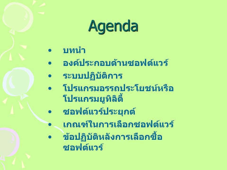 Agenda บทนำ องค์ประกอบด้านซอฟต์แวร์ ระบบปฏิบัติการ โปรแกรมอรรถประโยชน์หรือ โปรแกรมยูทิลิตี้ ซอฟต์แวร์ประยุกต์ เกณฑ์ในการเลือกซอฟต์แวร์ ข้อปฏิบัติหลังการเลือกซื้อ ซอฟต์แวร์